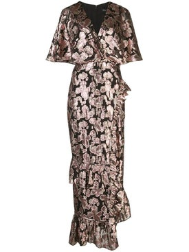 Saloni - Metallic Rose Brocade Dress - Mid-length