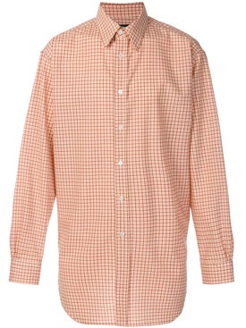 Raf Simons - Gingham Hem Detail Shirt Orange - Men