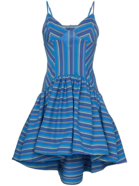 flared stripe print dress