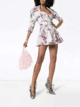Attico - Floral-print Belted Stretch-cotton Dress - Women