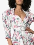 Attico - Floral-print Belted Stretch-cotton Dress - Long-sleeve