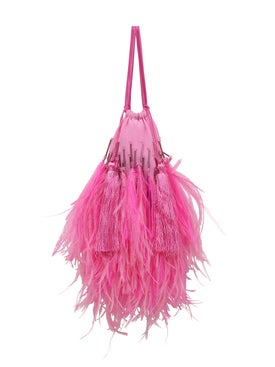 Attico - Feather-trim Tote Bag Pink - Women