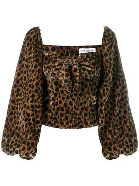 Attico - Leopard Print Balloon Sleeve Blouse - Women