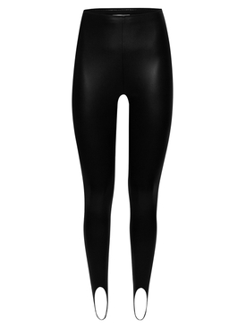 X Amina Muaddi Vegan Leather Stirrup Black