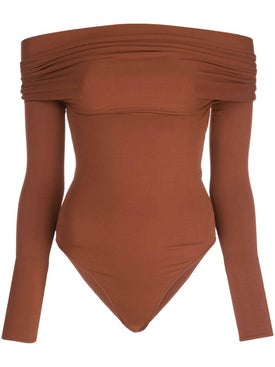 Alexandre Vauthier - Fitted Off-the-shoulder Bodysuit Cinnamon - Women