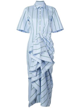 Rosie Assoulin - Blue Gathered Ruffle Shirt Dress - Clothing