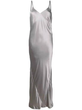 Grey silk slip maxi dress