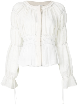 tiered sleeve cropped jacket WHITE