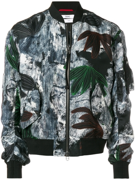 painterly floral bomber jacket