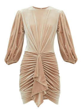 Alexandre Vauthier - Latte Beige Ruched Velvet Dress - Women