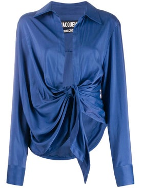 Jacquemus - Blue Front-tie Top - Long Sleeved
