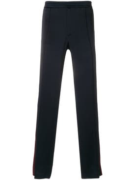 Valentino - Stripe Detail Straight Trousers Blue - Men