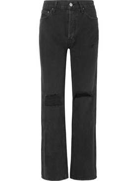 High Rise Loose Jeans Worn Black