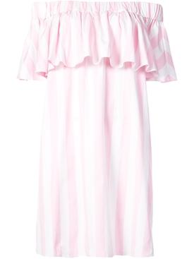 off the shoulder woven dress PINK