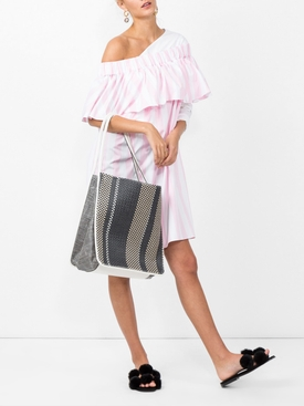 off the shoulder woven dress PINK