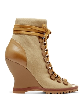 River canvas and leather wedge ankle boots