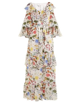 Margaux garden-print silk dress WHITE