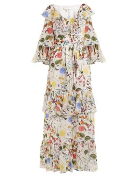 Borgo De Nor - Margaux Garden-print Silk Dress White - Women