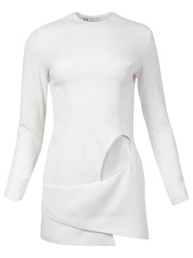 BACKLESS LONG SLEEVE MINI DRESS WITH SIDE CUTOUT White