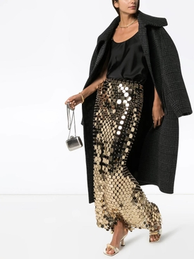 Sequined light gold maxi skirt