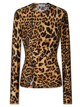 Long Sleeve ruched leopard print top