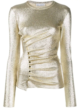 Silver Gold Metallic Ruched Top