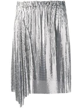 silver draped mini skirt