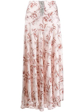Paco Rabanne - Crystal-embellished Floral Print Skirt - Maxi