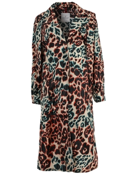 Multicolored Leopard Print Long Coat