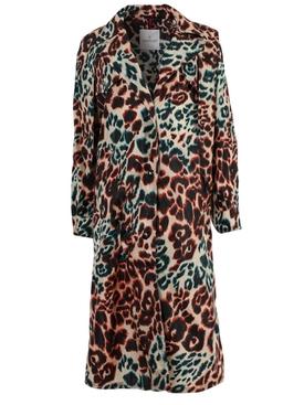 Multicolored Leopard Print Long Coat