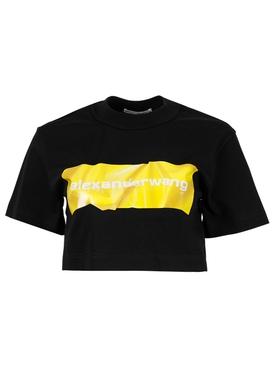 crumpled logo crop top, BLACK A