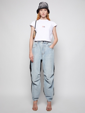 CROPPED BUBBLE SLEEVE TEE WHITE