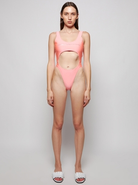 FRONT AND BACK CUT-OUT SWIMSUIT BRIGHT PINK
