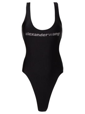 LOGO SWIMSUIT WITH SIDE CUT OUTS BLACK