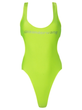 LOGO SWIMSUIT WITH SIDE CUT OUTS NEON CELANDINE