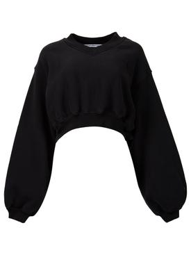 cropped v-neck pullover Black