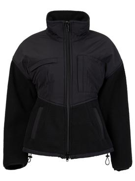 Sculpted Drop Shoulder Jacket With Nylon Combo BLACK