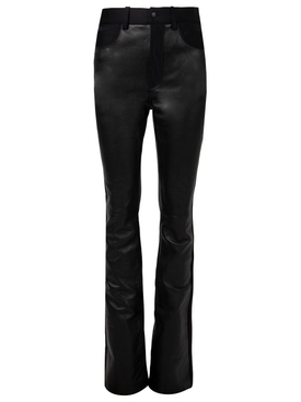 LEATHER AND ACTIVE STRETCH STACKED TROUSER BLACK