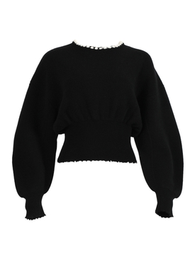 Pearl embellished pullover sweater BLACK