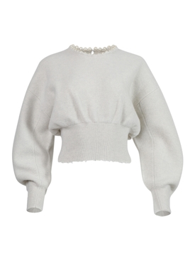 Pearl embellished pullover sweater IVORY