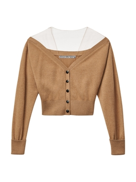 wool off the shoulder cardigan NEUTRAL