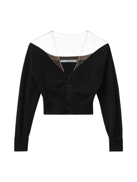 wool off the shoulder cardigan BLACK