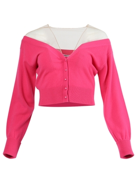 FITTED CROPPED CARDIGAN WITH SHEER YOKE