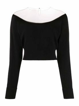 sheer yoke cropped top Black