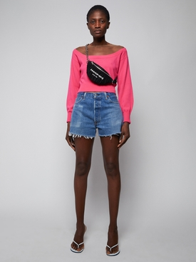 sheer yoke cropped top Bright Fuschia