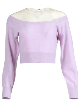 sheer yoke cropped top Ultraviolet