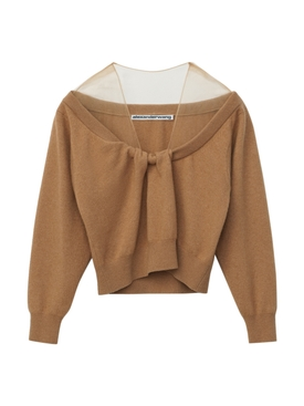 CROPPED DRAPE NECK PULLOVER NEUTRAL