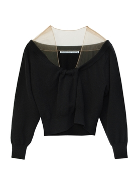 CROPPED DRAPE NECK PULLOVER BLACK
