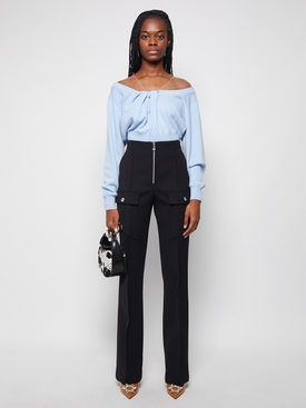 illusion tulle twist cashmere pullover top Cloudy Blue