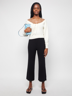 illusion tulle twist cashmere pullover top Ivory